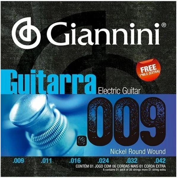 Encordoamento Giannini Guitarra Elétrica GEEGST9 - 009-042
