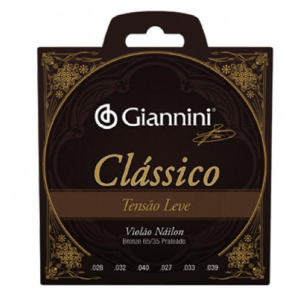 Encordoamento Nylon Giannini Clássico GENWPL Tensão Leve para Violão